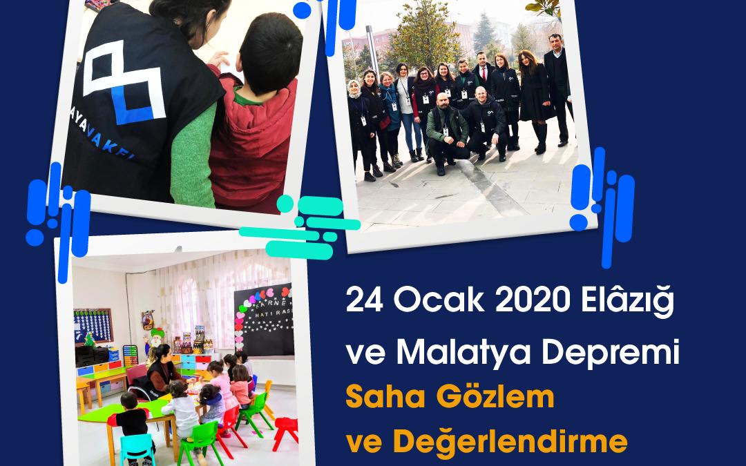 24 Ocak 2020 Elazığ ve Malatya Depremi Saha Gözlem ve Değerlendirme Raporumuz Yayınlandı